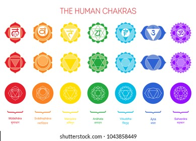 Human chakras set. Color sign, white line symbol with name in English and sanskrit