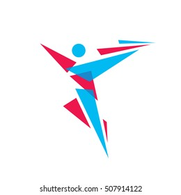 Human character abstract figure - vector logo template concept illustration. People sign. Fitness sport symbol. Design element.