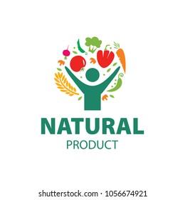 Human character logo sign. Leaf logo sign. Health care logo sign. Nature logo sign