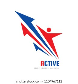 Human character - vector logo template concept illustration. Active sport and fitness people creative sign. Abstract shapes. Arrows development strategy. Graphic design element.