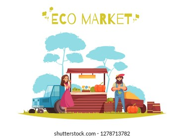 Human characters and harvest of horticulture at eco market cartoon composition on blue white background vector illustration