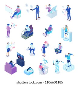 Human characters with virtual reality technology during business process, chat, sport activity, games, learning isolated vector illustration