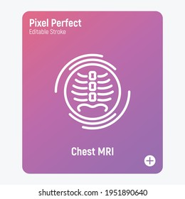 Human chest MRI scan thin line icon. Medical equipment for oncology detection. Pixel perfect, editable stroke. Vector illustration.