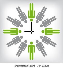 Human clock conceptual illustration