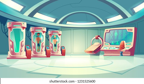 Human cloning or dna research in secret science laboratory carton vector concept with young men sleeping in capsule with fluid, MRI scanner and empty operator chair near control panel with huge screen