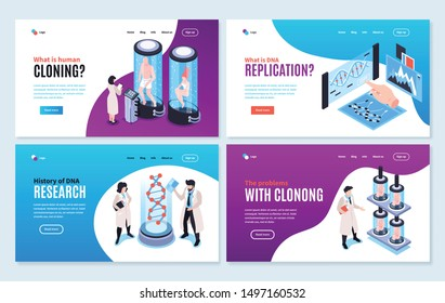 Human cloning isometric banners showing history and problems associated with human genome experiments vector illustration