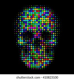Human Color Skull In Halftone Dots Style Bright T Shirt Graphics Design On Black Background