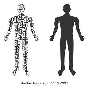 Human composition icon of zero and null digits in variable sizes. Vector digital symbols are scattered into human mosaic design concept.