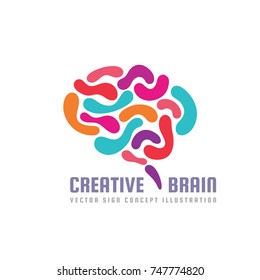 Human creative brain - vector logo template concept illustration in vibrant colors. Abstract mind creative sign. Graphic design element.