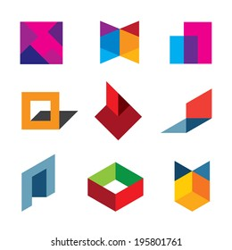 Human creativity and innovation creating new colorful worlds icon logo elements