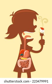 Human digestive system x-ray from a little girl vector cartoon illustration
