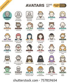 Human diversity avatar line icons set in modern line icon style for ui, ux, website, web, app graphic design