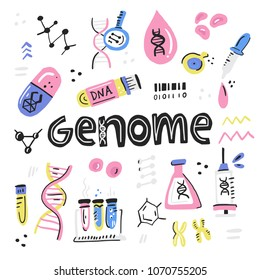 Human dna research technology symbols. Handdrawn nano technology concept made in vector.  Human genome project.