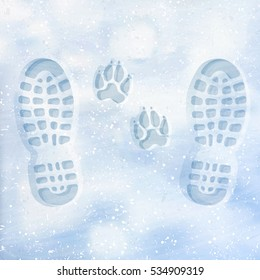 Human and dog footprints on surface white winter snow. Overhead view. Texture of snow surface. Vector illustration background.
