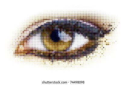 human dots eye. vector illustration.