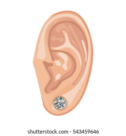Human ear with framed earring front view, vector illustration isolated on white background