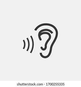 human ear hearing vector icon