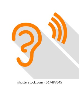 Human ear sign. Orange icon with flat style shadow path.