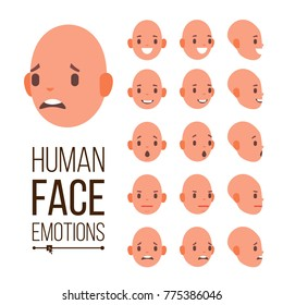 Human Emotions Vector. Face Smiling, Angry, Surprised, Laughing, Serious. Variety Emotions Concept. Cute, Joy, Laughter, Sorrow. Isolated Flat Cartoon Illustration