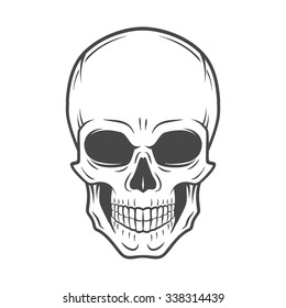 Human evil skull vector. Jolly Roger logo template. death t-shirt design. Pirate insignia concept. Poison icon illustration.