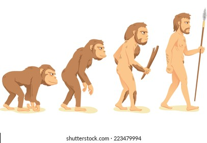 Human Evolution from Ape to Man, process of change vector illustration cartoon.
