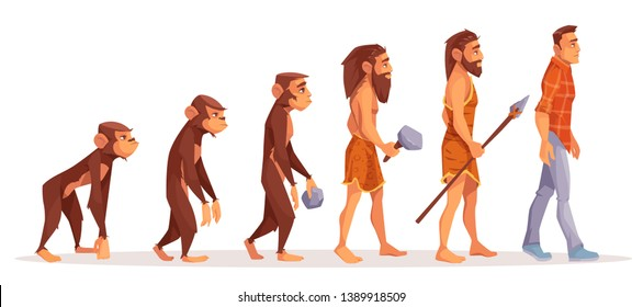 Human evolution cartoon vector concept. Male monkey, walking upright primate, prehistoric, stone age hunter with primitive tool and weapon, modern man in daily clothing illustration isolated on white