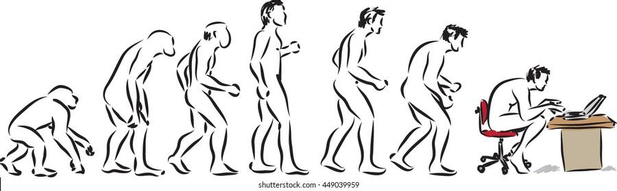 human evolution computer time illustration