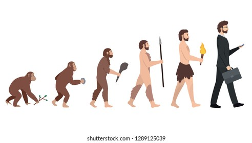 Human evolution. Development from monkey to modern man. Male businessman with a briefcase and smartphone. Isolated vector illustration