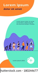 Human evolution from monkey to cyborg. Primate, ancestor, caveman, homo sapience, disabled man with prosthesis, robot. Vector illustration for anthropology, history, development concept