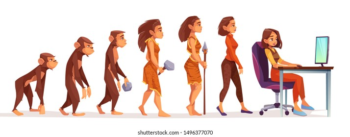 Human evolution from monkey to freelancer woman, time line Female character evolve steps from ape to uprights homo sapiens to girl at computer isolated on white background. Cartoon vector illustration