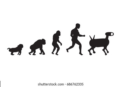Human evolution process. 5 stages. Darwin's theory. Black silhouettes. Vector illustration.