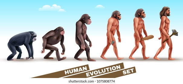 Human evolution set of characters from primates to homo sapiens on blue sky background vector illustration