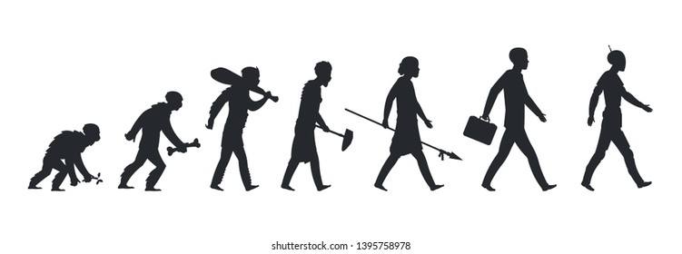Human evolution silhouette. Monkey ape and caveman to businessman growing concept. Vector mankind development and evolution men