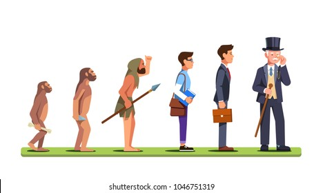 Human evolution stages from ape to a man of business. Progression of mankind from prehistoric to a capitalist business person. Flat style character isolated vector illustration on white