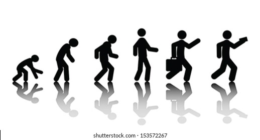 Human evolution, vector. Isolated on white