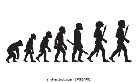 Human Evolution Vector Silhouette Illustration. Man Evolution Historical Vector.