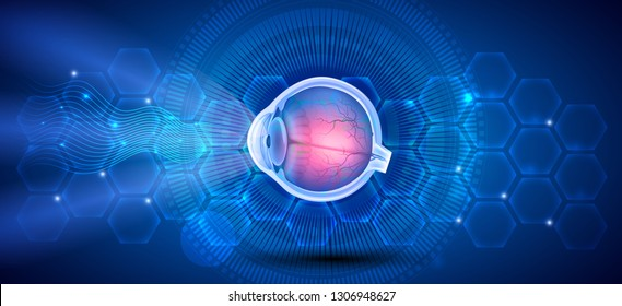Human eye anatomy on a blue scientific background