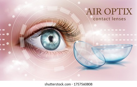 The human eye. Contact lenses. Ophthalmology. Product Advertising Concept. Vector illustration.