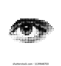 The human eye, a drawing in a modern halftone style. flat vector illustration isolated on white background