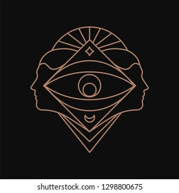 Human eye geometric symbol. Line art