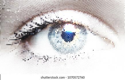 The human eye in halftone