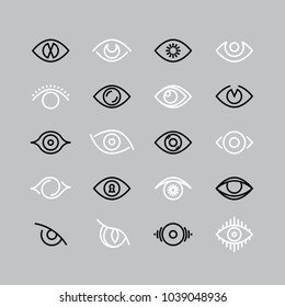 Human eye line icons. Eyesight vector outline pictograms. Eye and eyesight, eyeball optical illustration