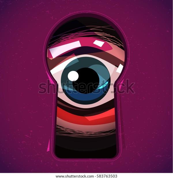 menschliches Auge durch ein Schlüsselloch schauen. Augen können sehen Sie Konzept. Horror oder Heilbutt - Vektorgrafik