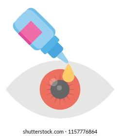 Human eye with medicine dropper, eye drops flat icon image