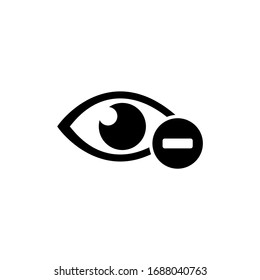 Human Eye with Minus, Nearsighted Vision, Myopia. Flat Vector Icon illustration. Simple black symbol on white background. Human Eye with Minus Vision sign design template for web and mobile UI element