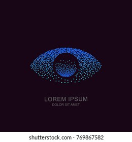 Human eye from molecule particles, vector tech logo, sign or emblem design element. Futuristic concept for biometric recognition, optical, CCTV, retina scan, security camera, cyber vision technology.
