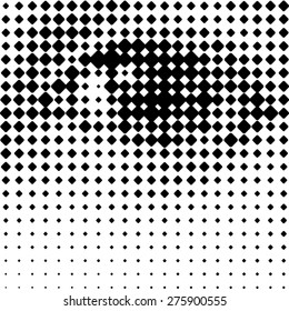 A human eye, printing grid-like graphic on transparent background.
