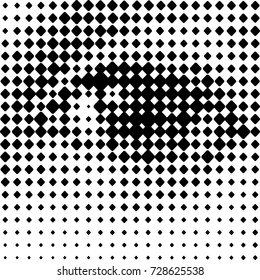 A human eye, printing grid-like vector graphic on transparent background. Center variant.