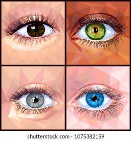 Human eye set colorful realistic low poly designs isolated on dark background. Vector illustration of different eye and skin colors. Collection in a modern style.