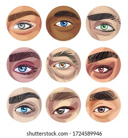 Human Eyes of Various Colors in Circles Collection, Part of Male or Female Faces Vector Illustration